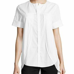 Halston Heritage sz O Poplin Overlay Shirt